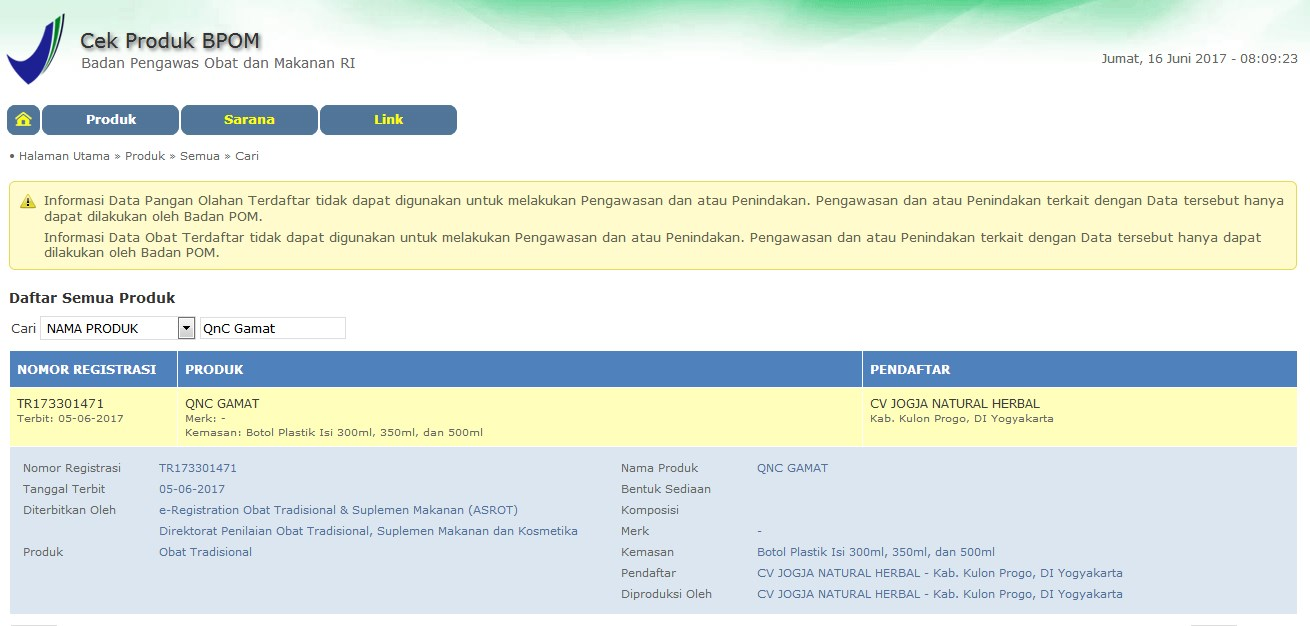 Database Registrasi BPOM - QnC Jelly Gamat